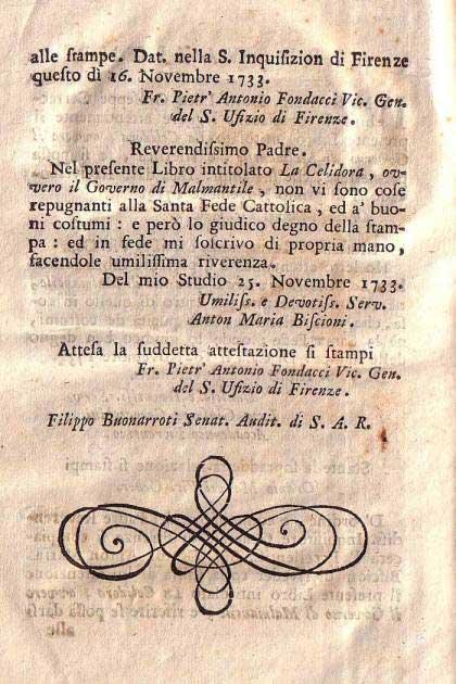 La Celidora, ovvero il governo di Malmantile (approvazione della Santa Inquisizione)