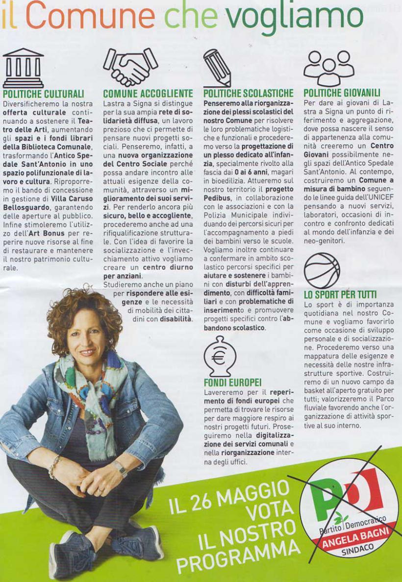 Consultazione elettorale comunale 2019/24 programma Angela Bagni sindaco eletto