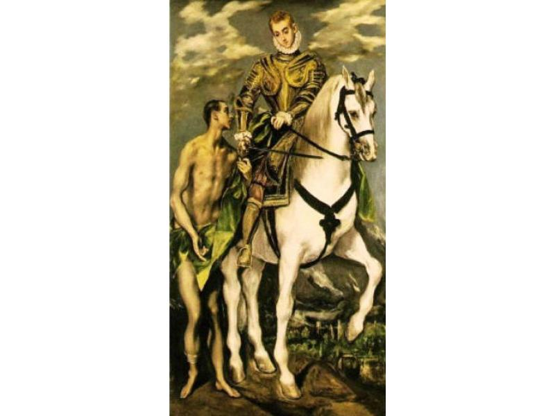 El  Greco - S.Martino a cavallo divide il mantello<br>1597, National Gallery, Washinton