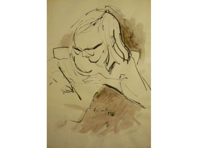 Serena che scrive, 1970. China su carta, cm. 47x33